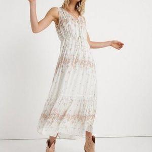 NWT White Floral Lucky Brand Maxi Dress Medium